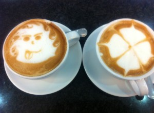 two cappucinos
